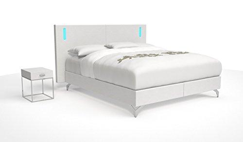 SAM® Design Boxspringbett Faro Grenada weiß mit 7-Zonen H2 Taschenfederkern-Matratze, Chrom-Füßen und LED-Beleuchtung, 180 x 200 cm