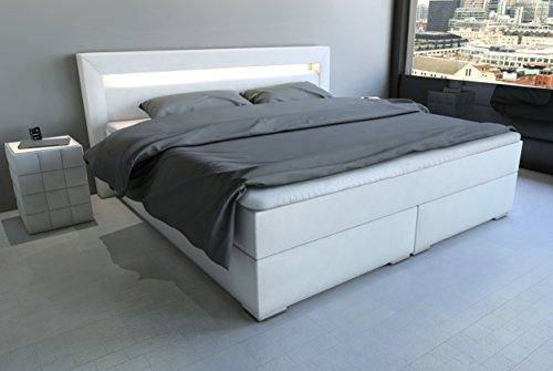 SAM LED-Boxspringbett 160x200 cm Austin, Kunstleder weiß, Nosagfederkern, 7-Zonen H3 Bonellfederkern-Matratze, Kaltschaum-Topper
