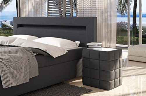sam led boxspringbett 180x200 cm austin stoff anthrazit bonellfederkern matratze h3 topper. Black Bedroom Furniture Sets. Home Design Ideas