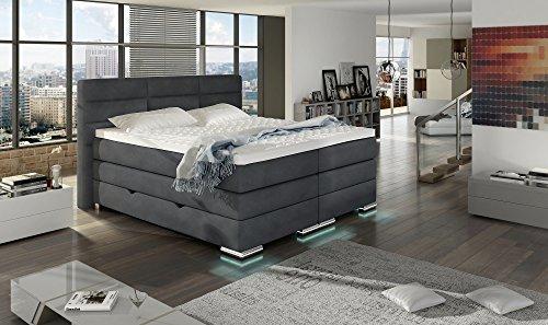 XXL ROMA Boxspringbett mit Bettkasten Designer Boxspring Bett LED DESIGN Grau Stoff Rechteck Design Größe 180_x_200_cm