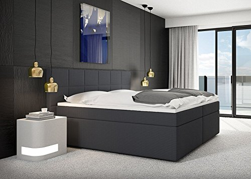 "Miosono® Design Boxspringbett ""GRACE"" mit Neo Stoff-Bezug in anthrazit mit Bonellfederkern, 7-Zonen H3 Taschenfederkern-Matratzen, Viscoschaum-Topper, Memory-Effekt, 140 x 200 cm"