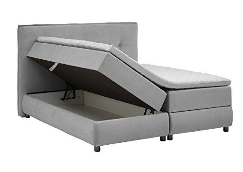 Atlantic Home Collection TILO Boxspringbett mit Bettkasten, Liegefläche 180 x 200 cm, Stoff, hellgrau
