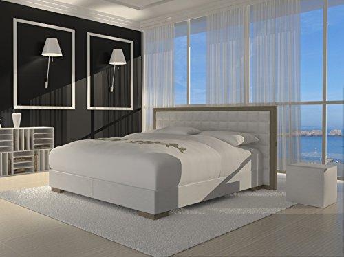SAM® Design Boxspringbett Honolulu weiß mit Bonellfederkern in Massiv-Holz-Rahmen und Chrom-Füßen 180 x 200 cm