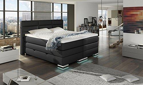 XXL ROMA Boxspringbett mit Bettkasten Designer Boxspring Bett LED Nachtschwarz Rechteck Design Größe 180_x_200_cm