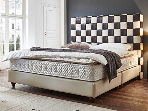 Boxspringbett Miami beige braun Hotelbett Doppelbett Taschenfederkern mit Topper Designer Bett