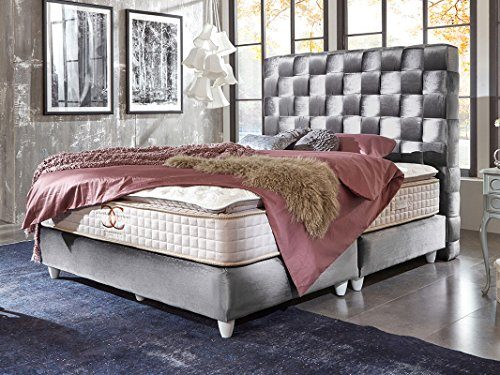 Boxspringbett Miami Silber-grau Samt-Stoff Designer Hotelbett geflochtet Doppelbett Taschenfederkern-Matratze Topper Modern Luxusbett