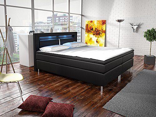 Boxspringbett New Jersey in 3 Größen & 3 Farben - Premiumbett in Lederoptik inkl. Kopfteil, Bonell-Federkernmatratzen, Topper & LED-Beleuchtung | ArtLife