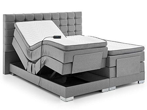 Boxspringbett elektrisch verstellbar 180 200x200cm Taschkenfederkern Doppelbett Ehebett Grau Anthrazit Dublin (180 x 200 cm, Grau)