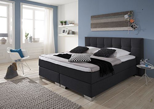 Boxspringbett 180/200 Made in Germany, Boxspringbett 180x200 cm, inkl. Visco Topper, 7-Zonen Taschenfederkern, H2/H3, Modell Home in Anthrazit