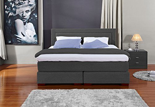 Designer Boxspringbett Los Angeles, Made in Germany, Tonnentaschenfederkern in der Box UND in der 7-Zonen Matratze, Visco Topper, Luxusbett, Hotelbett, Doppelbett Luxusbett, Hotelbett, H2/H3