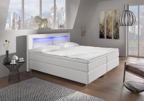 Designer Lederlook Boxspringbett mit Chromleisten Hotelbett Doppelbett Polsterbett Ehebett amerikanisches Bett Chrom Modell Alpha Typ 1
