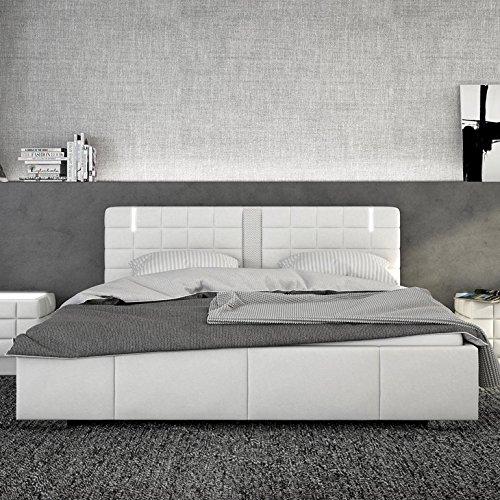 Innocent Polsterbett LED 180x200cm Kunstleder weiß und Lautsprecher Century Boxspringbett