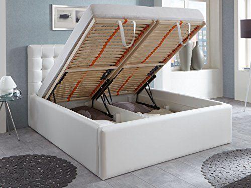 Polsterbett Bett mit Bettkasten Weiß Selly Zirkonia Steine Lattenrost Doppelbett Kunstleder