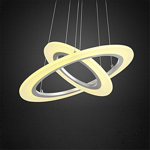 60W / 70W / 80W LED Modern Acryl Pendelleuchte Zwei/Drei Ringe Deckenlampe Kreative Kronleuchter Warmweiß Lüster SMD-Lampe Perlen Hängeleuchte