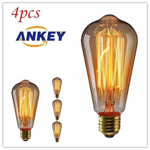 ANKEY 4 Stück E27 ST64 60W Edison Lampe Vintage Stil Glühbirne Squirrel Cage Retro Lampe Antike Beleuchtung 220V für Hängelampe Wandleuchte Pendelleuchte