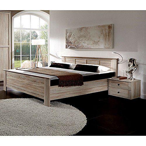 Bettanlage Bett 140x200cm Kompaktbett Nachttische Eiche sgerau Schlafzimmer Set