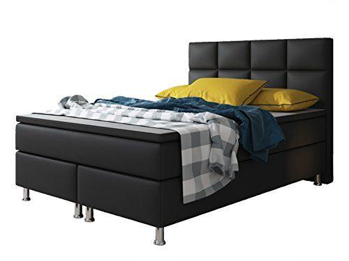 Boxspringbett MIAMI Hotelbett Betten 140x200 cm oder 180x200 cm mit Visco Topper (Schwarz, 140x200 cm)