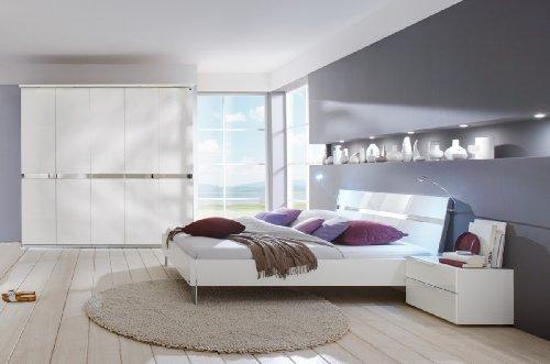 Dreams4Home Schlafzimmerkombination 'Andria' Schrank, Bett, 2 x Nachtschrank, Schlafzimmer komplett, weiß