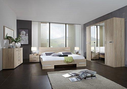 Dreams4Home Schlafzimmerkombination 'Avicio II', Schrank, Bett, Schlafzimmer komplett, Schlafzimmer Set, Eiche sägerau