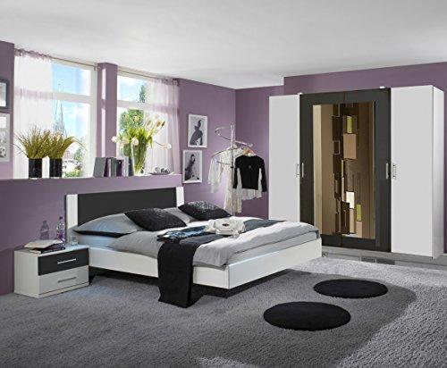 Dreams4Home Schlafzimmerkombination 'Cult III', Schlafzimmer, weiß, graphit, Kleiderschrank, Bett, Konsolen, Schlafzimmer