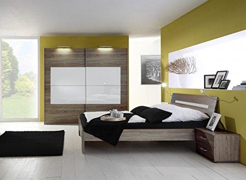 Dreams4Home Schlafzimmerkombination 'Jesso', 1 Schrank, 1Bett, 2 Nachtkonsolen, Schlafzimmer Set