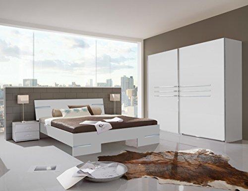 Dreams4Home Schlafzimmerkombination 'Kalabri II', Schrank, Bett, Nachtschrank, Schlafzimmer komplett, Alpinweiß Holznachbildung