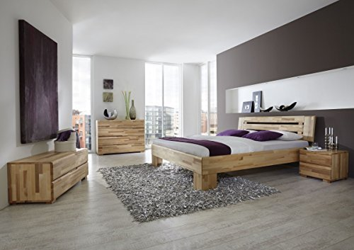 Dreams4Home Schlafzimmerkombination 'Lyon', Massivholzbett, Bett, Massivholz, Kernbuche, natur, 90, 100, 120, 140, 160, 180, 200x200 cm, Doppelbett, Komforthöhe
