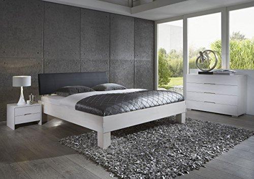Dreams4Home Schlafzimmerkombination Massivholzbett, Bett, Massivholz, Buche 'Padua' 90, 100, 120, 140, 160, 180, 200x200 cm, weiß gebeizt
