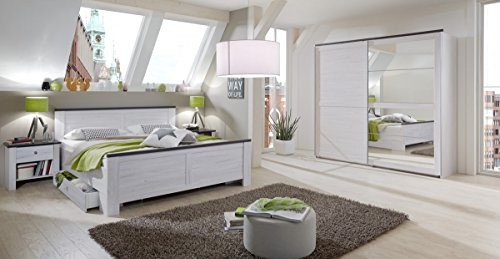 Dreams4Home Schlafzimmerkombination 'Sylt II', Schlafzimmer, Bettgestell, Weißeiche, Vintage, Bettrahmen, Nachtschrank, Kleiderschrank, Drehtürenschrank, Spiegelschrank