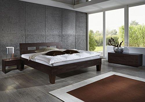 Dreams4Home Schlafzimmerkombination 'Trento', Bett, Massivholz, Buche, wenge, Nachttisch, Kommode, 90, 100, 120, 140, 160, 180, 200x200