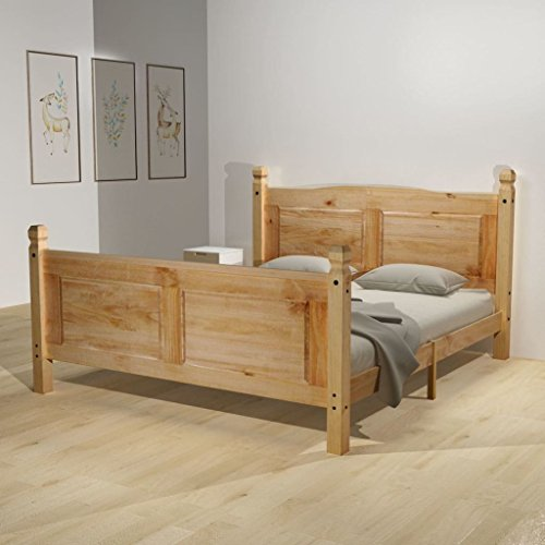 festnight holzbett doppelbett bett bettgestell g stebett aus holz ohne matratze 140 x 200 cm. Black Bedroom Furniture Sets. Home Design Ideas