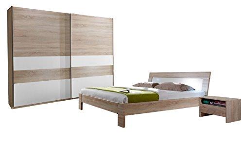 Fresh to go 649116 Schlafzimmer Programm Set aus Schwebetürenschrank 250 cm, Bett 180 x 200 cm, Nachtschrankpaar Eiche Sägerau, Absetzung weiß