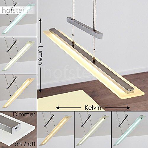 LED Pendelleuchte dimmbar - Längliche höhenverstellbare Zimmerlampe für Esszimmer - Wohnzimmer - Schlafzimmer - fest installierte LED - Lichtfarbe steuerbar - Sensorsteuerung - 3000-6500 Kelvin