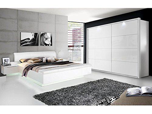 moebel-eins Silent Komplett-Schlafzimmer, Weiss Hochglanz, 4-teilig