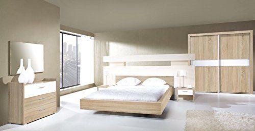 """Schlafzimmer Komplett - Set A """"Balen"""", 6-teilig, Eiche Sonoma / Weiß glänzend"""