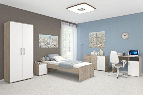 Schlafzimmer Komplett - Set A Savai, 5-teilig, Farbe: Eiche / Weiß
