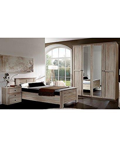 Schlafzimmer Set Eiche sägerau 100x200cm Bett 180cm Kleiderschrank Nachttisch