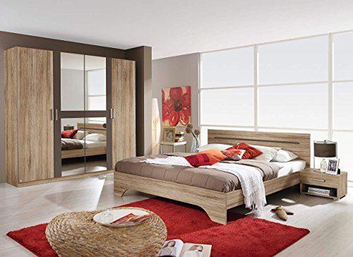 lifestyle4living Schlafzimmer Komplett, Schlafzimmermöbel, Set, Schlafzimmereinrichtung, 4-teilig, Eiche Sanremo NB, lavagrau