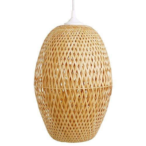 Schlafzimmerlampe Kon Tum, Lampe aus Bambus als Hängelampe, Pendelleuchte für Wohnzimmer, Schlafzimmer, Kinderzimmer und Küche, asiatische Einrichtung, handgeflochten aus Bambus
