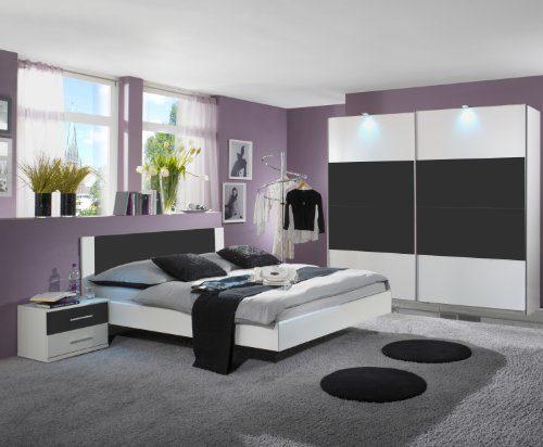 Wimex Schlafzimmer-Set 727342 Nora, Weiß, Abs. Anthrazit
