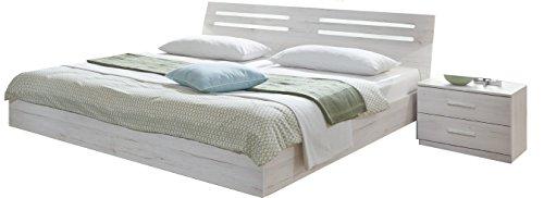 Wimex Schlafzimmer Set Susan, Bestehend aus Einem Bett und Zwei Nächtschränken, Liegefläche 180x200 cm, Weißeiche