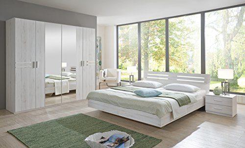 Wimex Schlafzimmer Set Susan, Bestehend aus einem Bett, zwei Nächtschränken und Schrank, Liegefläche 180x200 cm, Weißeiche