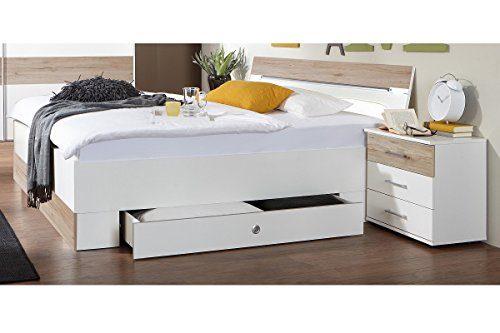 Wimex Schlafzimmer-Set 804188 Cheep, Weiß, Abs. San Remo-Eiche-Nachbildung