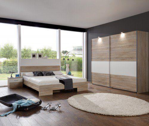 Wimex Schlafzimmer-Set 939321 Alina, Eiche sägerau-Nachbildung, Abs. Weiß, Burton IV
