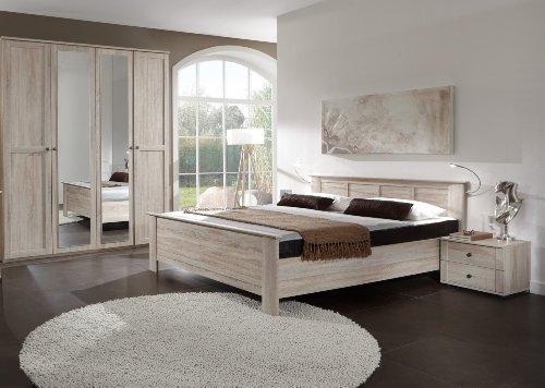 Wimex Schlafzimmer Set Chalet, bestehend aus einem Schrank, Bett und Nachtschränken, Liegefläche 180x200 cm, Eiche sägerau-Nachbildung