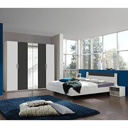Wimex Schlafzimmer Set Ilona, Bestehend aus Einem Schrank, Bett und Nachtschränken, Liegefläche 140 x 200 cm, Weiß