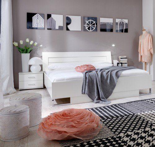 Wimex Schlafzimmer-Set Davos, Weiß, Aufleistung Chrom, Fana