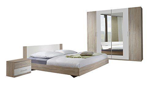 Wimex Schlafzimmer Set Franziska bestehend aus Bett 180 x 200 cm, Nachtschrankpaar je zwei Schubkästen und Kleiderschrank