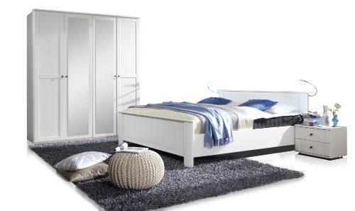 Wimex  Schlafzimmer Set bestehend aus Drehtürenschrank, Bett und Nachtschrankpaar je zwei Schubkästen, Landhausoptik, Front und Korpus alpinweiß