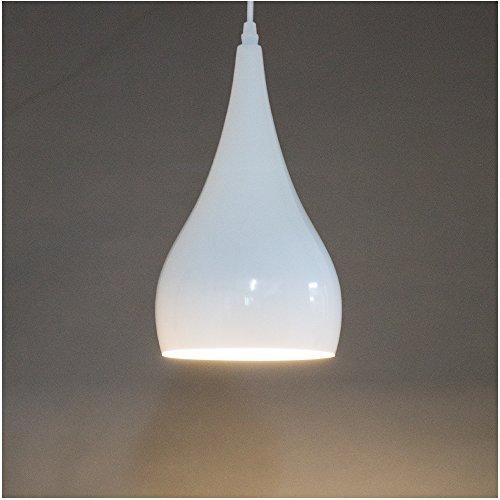 Modern Simplicity Küchen Pendelleuchte Loft Metall Optik Hängeleuchte Lampenschirm E27 Fassung Ø16cm (Weiß)